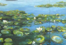 "seattle waterlilies 24"" x 56"" oil on canvas"