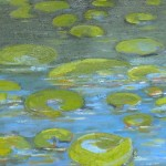 "seattle waterlilies #2 12"" x 34"" oil  on panel"